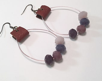 Beaded wire and leather earrings