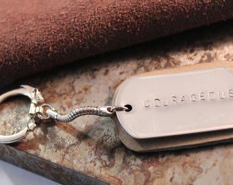 Customizable Dog tag Keychain on Leather