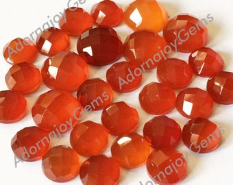 Gemstone Cabochon Red Onyx 8mm Checkerboard TWO CABS