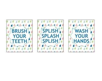 Kids Bathroom Decor, Bathroom Wall Decor, Brush Teeth, Wash Hands, Rainy Days, Children's Bath decor, Bath Art prints, 8 x 10 unframed