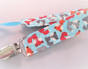 Universal Fabric Pacifier & Toy Clip - Mini Fox in Sky - Paci Clip, Teether Clip, Binky Clip, Baby Shower Gift