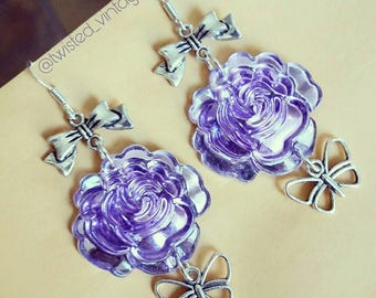 Lavender Purple Acrylic Rose Butterfly Bow Earrings