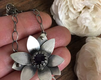Lotus and Amethyst 16-18 Inch Adjustable Necklace