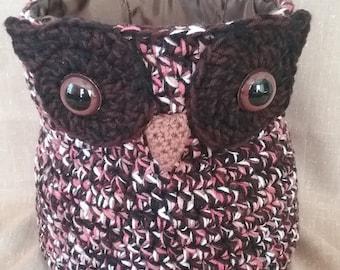Crochet Owl Basket, Lined, Storage, Yarn Basket, Child's Room, Kitchen Storage, Acrylic Fiber, Decorator