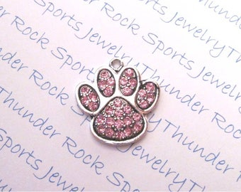 PAW CHARM, Antique Silver, pink crystals, paw prints, PENDANTS, Sports, animals, cats, dogs, bears, pets, sports mascots