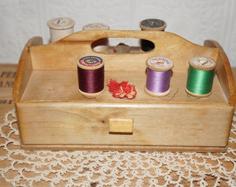 vintage old wooden drawer  sewing box