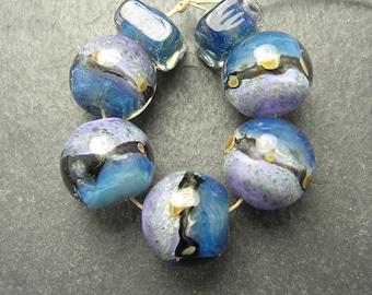 CrazyCatGlass Lampwork Boro Glass Beads Handmade Blue Butterfly Rounds