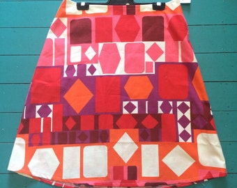 Ladies Geometric Pattern Cotton Aline Skirt - Size 12/14