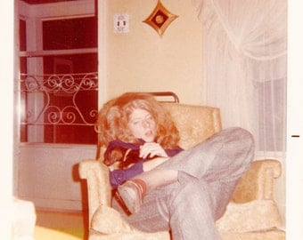 Vintage photo 1972 Color Unusual Hippie Teenager Big Hair Stoned Slumped Sleeping Dacshund