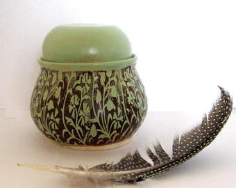 Handmade Ceramic Jar with lid - Sugar Jar - Salt Jar - Lidded Jar - Green Vines  - Hand Thrown Stoneware