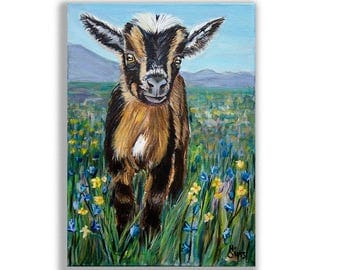 Farmhouse Wall Decor, Goat Art Print, Goat Gifts, Baby Animals, Nursery Art Print for Baby Animal Nursery Art,  Size and Mat Options