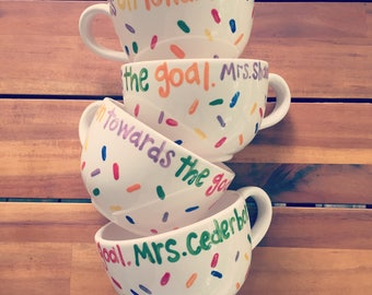 Teacher Personalized Latte Mugs - hand-painted teacher gift