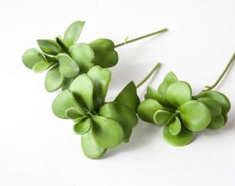 3 Artificial Green Succulent Picks - fake succulents, artificial flowers, artificial succulents - ITEM 0579