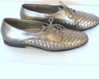 Sz 9 Woven Oxfords Womens 80sTaupe Metallic Oxford Shoes
