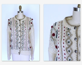 1970s Embroidered Cardigan Sweater White Sz L Cable Knit Sweater