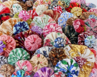 Fabric YoYo Flowers Your Choice Homespun Spring Pastels Primitive Teastain Variety Mix Use for Buttons Embellishments Scrapbook Cardmaking