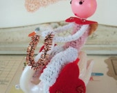 Vintage Style / Pipe Cleaner Valentine's Day Figure / Vintage Craft Supplies / Riding a Swan / German Glass Glitter