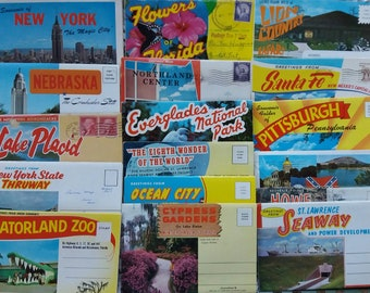 Five Vintage Souvenir Postcards Folders ..fold out