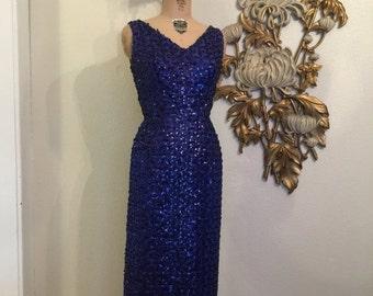Fall sale 1960s dress sequin dress formal gown bombshell dress beaded gown 28 waist vintage dress
