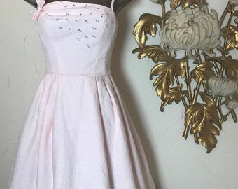 1950s dress lorrie deb dress pink dress rhinestone dress bridesmaid dress size small vintage dress