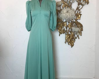 1970s dress puff sleeve dress maxi dress size small green dress vintage dress biba style dress 32 bust