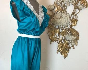 1980s jumpsuit teal jumpsuit nylon jumpsuit size medium vintage jumpsuit pajama jumpsuit vintage onsie