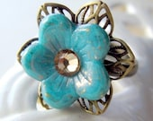 Sale 20% off Blue Flower Ring, Statement Ring, Cocktail Ring, Adjustable Ring