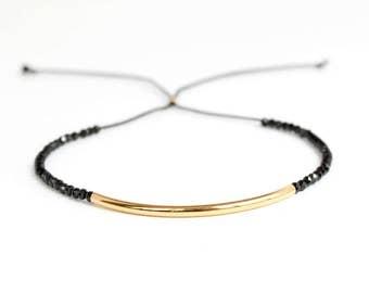 Black Garnet Bracelet/Tennis Bracelet/Black Garnet Tennis Bracelet/Gold Bracelet/Dainty Jewelry/Cord Necklace/Handmade