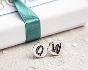 Silver Initial Earrings with polished finish, Personalised initial earrings, monogram earrings, initial stud earrings, personalised earrings