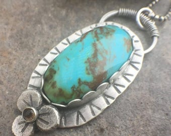 25% Off - Turquoise Smokey Quartz Sterling Silver Flower Necklace