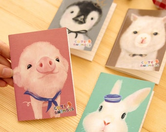 Animal Notepad, Animal Notebooks, Small Notebooks, Pig Notepad, Rabbit Notebook, Dog Notepad Animal Drawing Notebooks, Baby Animals