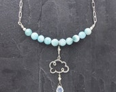 Larimar necklace, cloud necklace, Larimar jewelry, cloud jewelry, moonstone pendant, raindrop jewelry, weather jewelry, gift for her, aqua