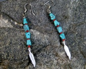Turquoise dangle-earrings, turquoise nugget and feather earrings, womens fashions, Native American earrings, beaded earrings