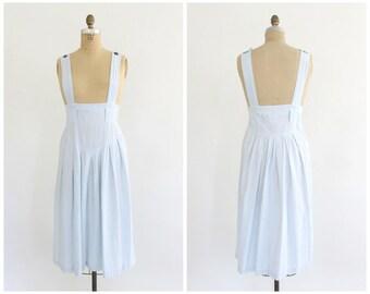 vintage 1980s blue & white stripe cotton jumper dress | 80s cotton jumper | vtg striped dress | small/medium