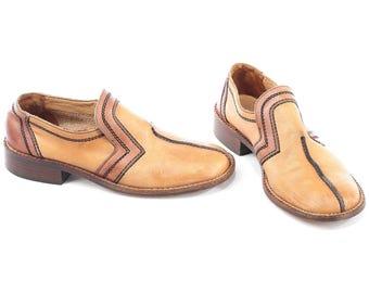 Heeled Shoes Men's 70s Retro Loafers DISCO Shoes Vintage Two Tone Beige Brown Flats Wide Fit Fancy Shoe Gift Size Eur 41, US men 8, Uk 7.5
