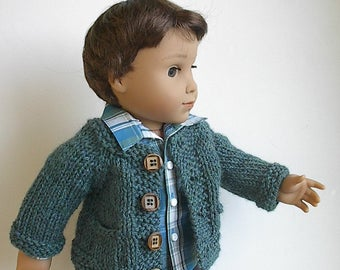 "18"" Boy Doll Clothes Handknit Cardigan Sweater with Pockets in Jade Heather Handmade to fit 18"" Logan and Similar Dolls - You Choose Color"