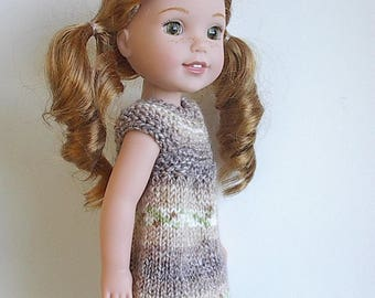 "14.5"" Doll Clothes Knit Dress Handmade to fit Wellie Wishers dolls - Brown Tan and Green Jacquard Summer Dress"