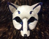 READY TO SHIP White Galaxy Fox Mask... handmade leather masquerade fox foxes costume mardi gras halloween burning man