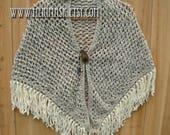 Oatmeal Peacock Crochet Shawl... knit crocheted fringed yarn leather feather tie bohemian boho