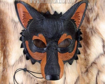 READY TO SHIP Black and Tan Wolf Leather Mask... handmade leather wolf mask masquerade costume Mardi gras Halloween burning man