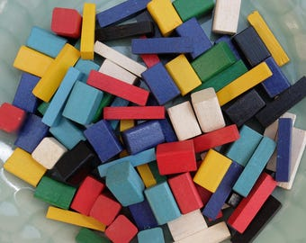 80 Small Vintage Wooden Blocks Supply