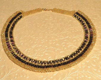 Purple and Gold Beaded Collar
