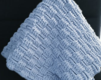 Baby Boy Crocheted Baby Blanket Soft Blue Suede Cozy