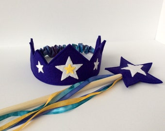 Wool Felt Crown and Wand-- silk and wool Star Child play set-- indigo with hand dyed silk streamers