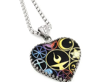 Silver Heart Glass Pendant, UU Chalice Jewelry, World Religion Necklace, 25mm, 1 Inch, Diamond Cut Stainless Steel Chain