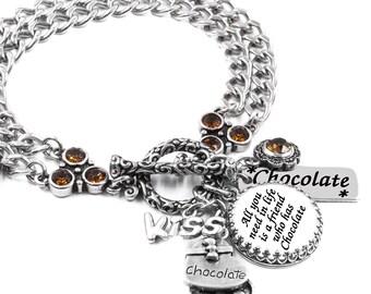 Chocolate Inspirational Bracelet, Silver Inspirational Jewelry, Stainless Steel Bracelet, Chocolate Charm Bracelet