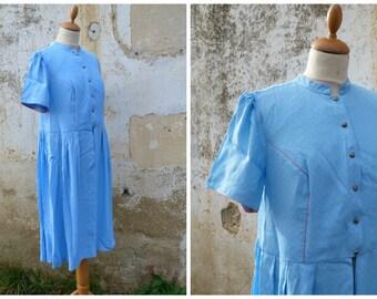 Vintage 1970/70s Austria trachten dirndl folk Prairie dress soft blue tiny floral calico size M/L