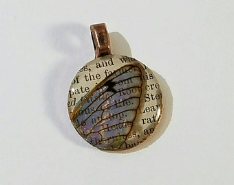 Real Cicada Wing Penny Pendant-Iridescent
