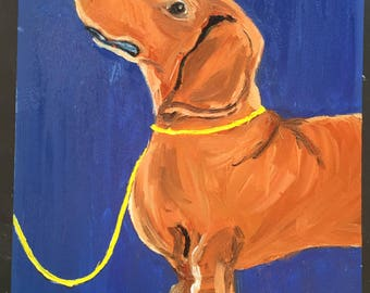 Dachsund on Yellow Leash Original Oil Painting Daily Painting