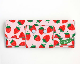 Vinyl Long Wallet - Strawberry / fruit, pink, summer, vegan, pretty, large wallet, clutch, card case, vinyl wallet, big, cute, strawberries